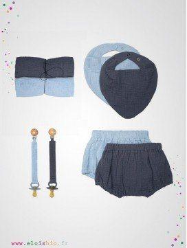 Coffret cadeau pour bébé en mousseline de coton bio - 3 coloris