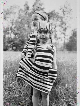 """Robe enfant imprimé """"Stripe"""" rayures noires"""