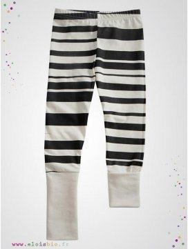 """Legging enfant imprimé """"Stripe"""" rayures noires"""