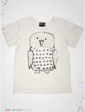 Tee-shirt enfant motif hibou manches courtes