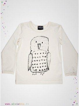 Tee-shirt motif hibou manches longues