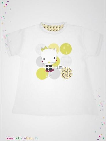 eloisbio-ts1428 minizabi tee-shirt-fille-mc-blanc- mini ballerine