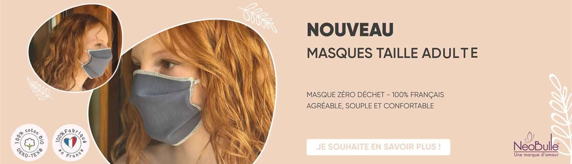 Masques en tissu lavable coton bio france Néobulle